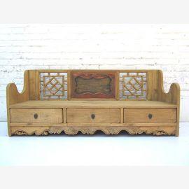 China 1900 Sitzbank Landhausstil drei Sockelschubladen Schnitzdekore Fichtenholz von Luxury-Park
