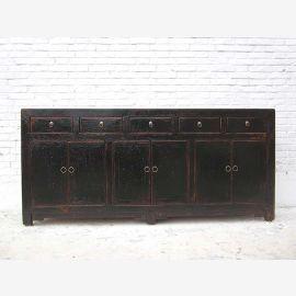 Chinesische Kommode 200cm breites Sideboard Anrichte mit fuenf Schueben und Tueren schwarz lackierte Pinie used look von Luxury Park