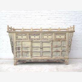 Sideboard Shanxi 1760 breiter Altarschrank absolute Rarität Ulme kalkweiß
