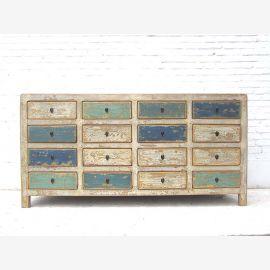 Asia große Kommode Sideboard shabby chic 16 Schubladen weiß blau Pinie