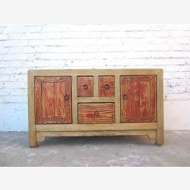China Sideboard Kommode naturfarben Vintage Stil Pinie Vollholz