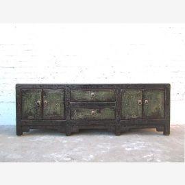 Asien Lowboard TV Kommode schwarz Vintage Style Pinienholz