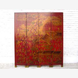 Asien Raumteiler Paravent rotgoldenes Antikfinish Lederoptik Holz