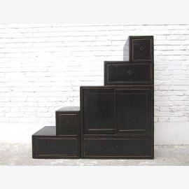 China Treppen Stufen Schubladen Kommode shabby chic schwarz beidseitig verwendbar von Luxury-Park