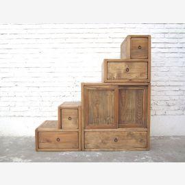 China Stufen Kommode Schubladen Landhaus Stil helles Pinienholz