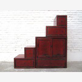 China kleine Stufen Kommode Schubladen vintag Style rotbraune Pinie