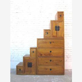 Asia Holz Treppenschrank schwarz shabby Chic