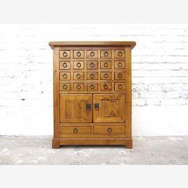 China Sideboard Apothekerschrank goldbraun Antikfinish Cottage Style Pinie