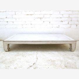 China niedriger Tisch 100x50cm Antikweiß used optic Pinienvollholz
