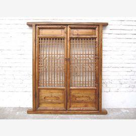 Asien Doppelfenster Gitter 132x59cm 150 Jahre alt Pinie Naturholzfarben