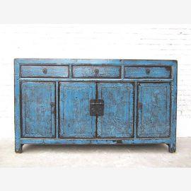 Asien großes Sideboard Kommode heavy used vintage Optik in Azurblau