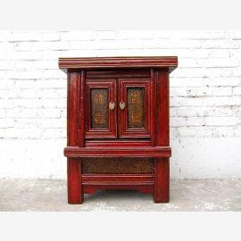 China kleine Kommode Altarschrank rotbraun Antiquität 210 Jahre Ulmenholz