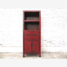 Asien hohe Kommode Regal kleiner Schrank rotbraun Gebrauchsspuren