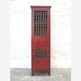 China schlanker Schrank klassisch rotbraun Pinie Antik 1940