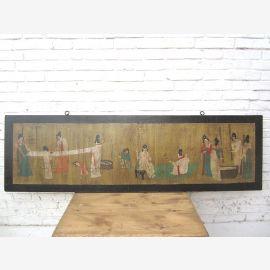 China breites Wandbild schwarz gerahmt Antik 80 Jahre alt Pinie