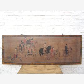China breites Wandbild Reiterszene ca. 1930 honigfarbener Holzrahmen