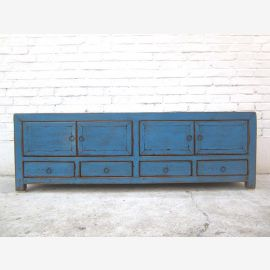 Asien TV Lowboard azurblau vintage style 140x38x45cm