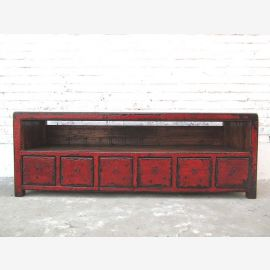 China TV Lowboard Subladenkommode Tisch rotbraun Vintage Style Pinie