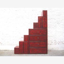 China Schrank gestufte Treppen Kommode klassisch rotbraun