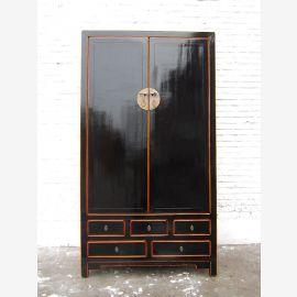 Asien hoher Schrank klassisch schwarzer Lack Vintage Stil Pinienholz
