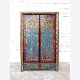 Kleine Kommode Schrank blau-rot vintage style Vollholz aus China