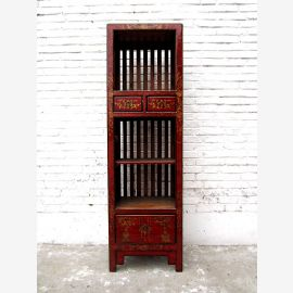 Asien Highboard Kommode rotbraun Antiklook Vintage Pinie