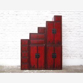 China Stufenkommode Treppenschrank rotbraunes Antikfinish Kolonial Stil Pinie