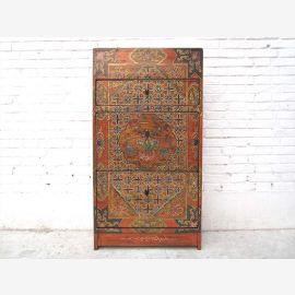 Tibet Schuhkommode Schuhschrank farbenfroh und klassisch bemalt Pinie