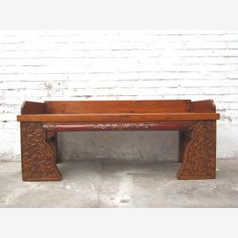 Asien Shanxi ca 1920 Sitzbank Schnitzerei Ulme holzbraun