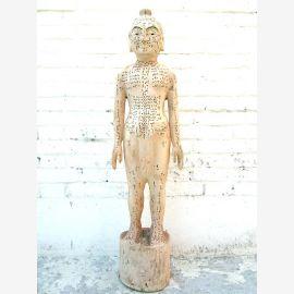 China 1930 Akupunktur Lehrmodell Skulptur Körper Mann Statue Heilkunde von Luxury-Park