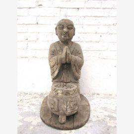 China um 1910 Skulptur betender Mönch buddhistische Altarfigur mit Räucherstabschale Pappelholz von Luxury Park