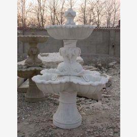Hoher runder Brunnen auf Sockel 3 Schalen weißer Marmor Klassik