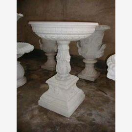 Runder Brunnen auf Sockel zwei Schalen hellbrauner Marmor Klassik