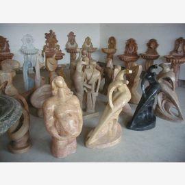 Skulpturen Marmor verschiedene Farben, Formen und Größen Kubismus