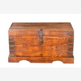 Indien 1960 kleine antike Truhe Kassette Box Messingbeschlag