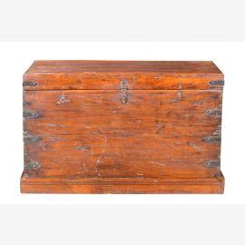 Indien 1900 antike Truhe Kassette Box schwere Metallbeschläge