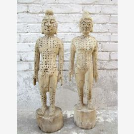 China Akupunktur 2 Lehrfiguren Holz Mann und Frau Holz Heilkunde