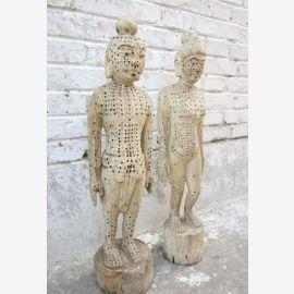 China zwei hölzerne Figuren Mann Frau zur Akupunktur Ausbildung Medizin