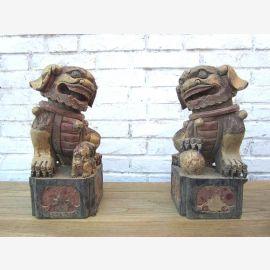 China zwei Skulpturen Tierfiguren nach 200 Jahre alten Vorlagen aus Pappelholz geschnitzt