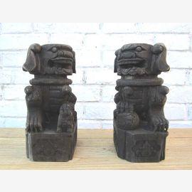 China zwei Skulpturen Tierfiguren 60 Jahre alte aus Pappelholz geschnitzt
