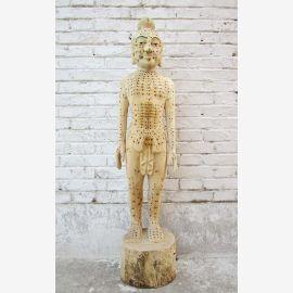 China 1940 Akupunktur Lehrmodell Skulptur Körper Mann Statue Heilkunde
