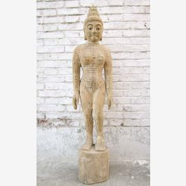 China Akupunktur Lehrmodell Skulptur Massivholz antik Körper Frau Statue Heilkunde