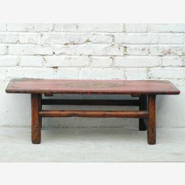 Traditionell flacher Tisch Pinie Tibet aus antikem Holz